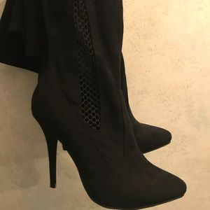Shoes - Black Suede Over Knee Boots